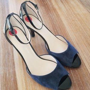 Franco Sarto 10M Suede Patent Peep Toe Heels